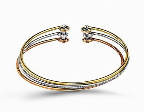 Simon G Three-Tone 18kt Yellow, White & Rose Gold Bangle Bracelet image 2