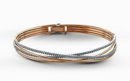 Simon G 18kt White & Rose Gold Twisted Bangle Bracelet image 2