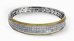 Simon G Arresting 18kt White & Yellow Gold Bangle Bracelet image 2
