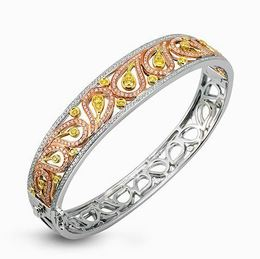 Simon G Three-Tone 18kt White, Rose & Yellow Gold Bangle Bracelet image 2