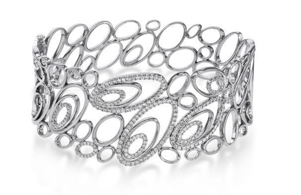 Simon G 18kt White Gold Bubbly Oval Shape Design Bracelet image 2