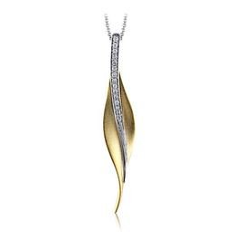 Simon G 18kt Yellow & White Gold Leaf-Shaped Pendant image 2