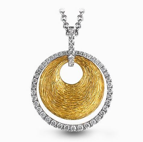 Simon G 18kt White & Yellow Gold Geometric Diamond Pendant image 2