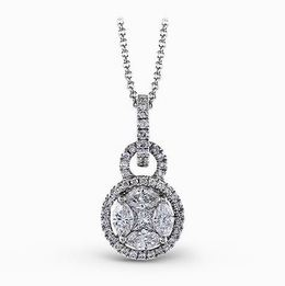 Simon G 18kt White Gold Geometric Double Circle Diamond Pendant image 2