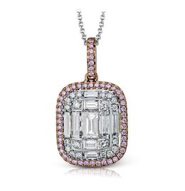 Simon G Lovely 18kt Rose & White Gold Mosaic Design Pendant image 2