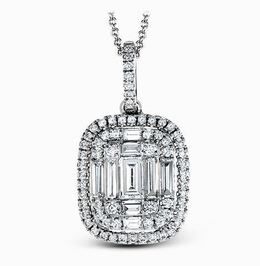 Simon G 18kt White Gold Elegant Halo Diamond Pendant image 2