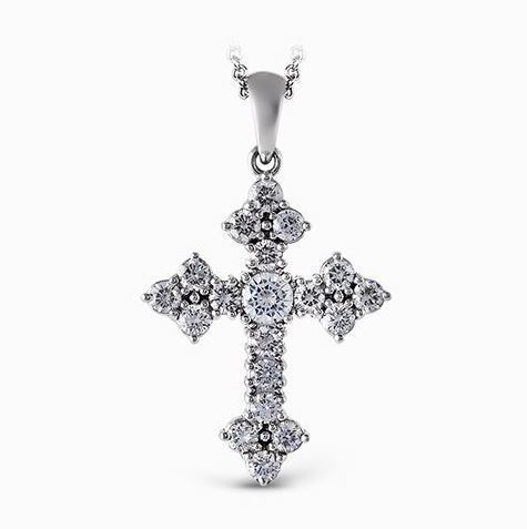 Simon G 18kt White Gold Delicate Diamond Cross Pendant image 2
