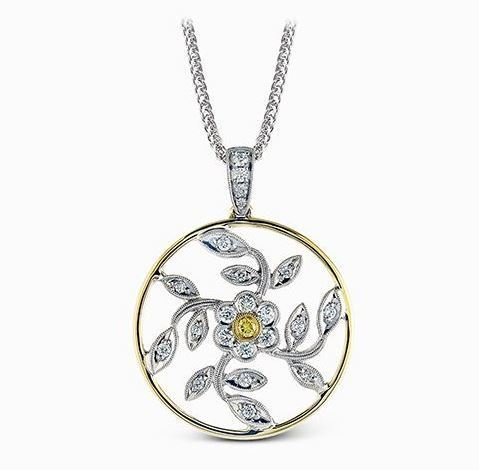 Simon G 18kt White & Yellow Gold Floral Design Pendant Necklace image 2