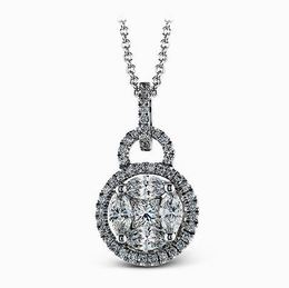 Simon G 18kt White Gold Geometric Diamond Pendant With Halo image 2