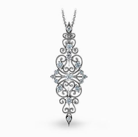 Simon G 18kt White Gold Lacy Vintage Pendant Necklace image 2
