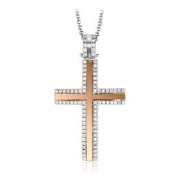 Simon G 18kt White & Rose Gold Two-Tone Cross Pendant image 2