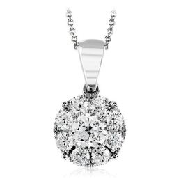 Simon G 18kt White Gold Pendant With Round Diamond Cluster image 2