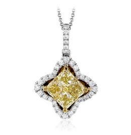 Simon G 18kt White & Yellow Gold Yellow Diamond Pendant image 2