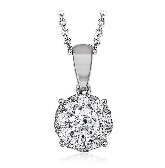 Simon G 18kt White Gold Round Diamond Pendant image 2