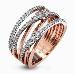 Simon G 18kt White & Rose Gold Intertwined Design Ring image 1
