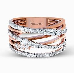 Simon G 18kt White & Rose Gold Intertwined Design Ring image 2