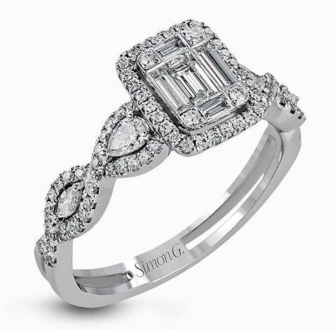 Simon G 18kt White Gold Geometric Halo Diamond Ring image 2