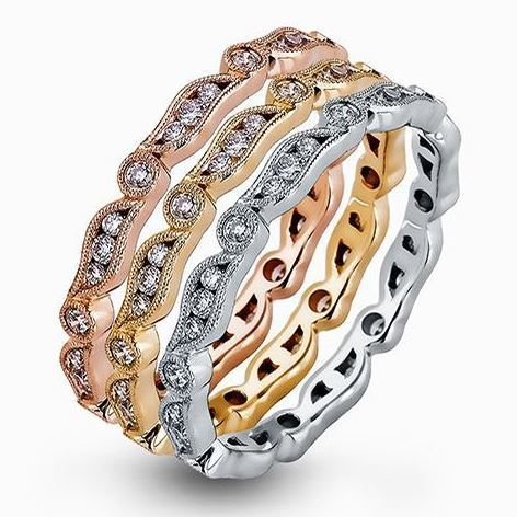 Simon G 18kt White, Yellow & Rose Stackable Band Trio image 2