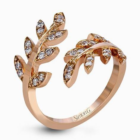 Simon G 18kt Rose Gold Leaf Design Ring With Diamond Accent image 2