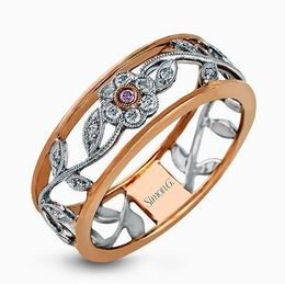 Simon G 18kt White & Rose Gold Vintage Style Floral Design Ring image 2