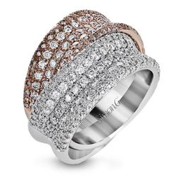 Simon G 18kt Rose & White Gold Intertwined Pave Diamond Rings image 1