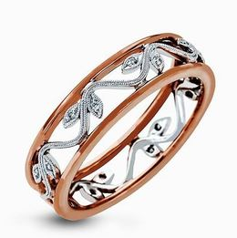 Simon G 18kt White & Rose Gold Delicate Floral Design Ring image 2