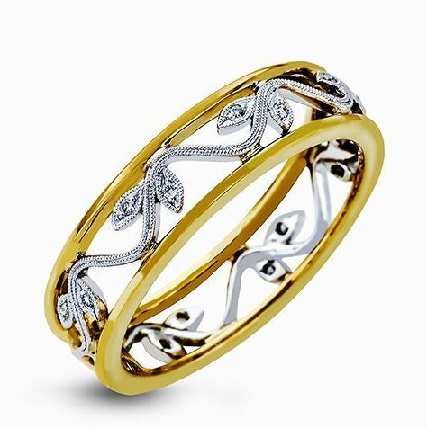 Simon G 18kt White & Yellow Gold Delicate Floral Design Ring image 2