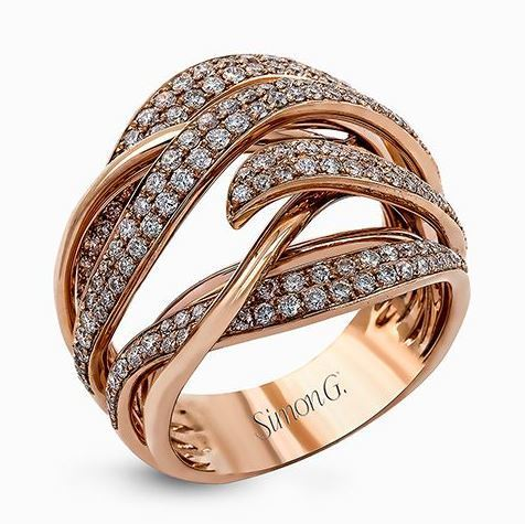 Simon G 18kt Rose Gold Intertwined Design Diamond Ring image 2