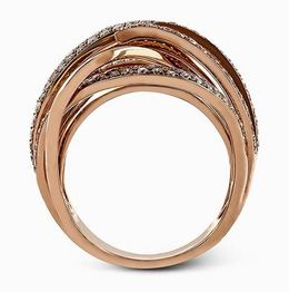Simon G 18kt Rose Gold Intertwined Design Diamond Ring image 3