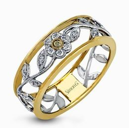 Simon G 18kt White & Yellow Gold Vintage Floral Design Ring image 2