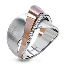 Simon G 18kt White & Rose Gold Overlapping Design Ring image 1