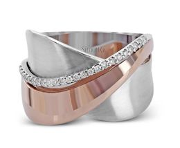 Simon G 18kt White & Rose Gold Overlapping Design Ring image 2