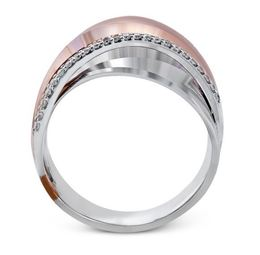 Simon G 18kt White & Rose Gold Overlapping Design Ring image 3