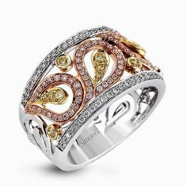 Simon G 18kt White, Rose & Yellow Paisley Design Ring image 2