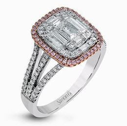 Simon G 18kt White Gold Split-Shank Diamond Ring With Pink Halo image 2