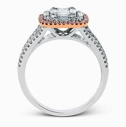 Simon G 18kt White Gold Split-Shank Diamond Ring With Pink Halo image 3