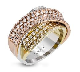 Simon G 18kt White, Yellow & Rose Gold Tri-Color Overlapping Design Ring  image 2