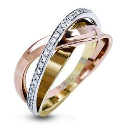 Simon G 18kt Rose, White & Yellow Gold Dynamic Overlapping Ring image 2