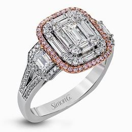 Simon G 18kt White Gold Diamond Ring With Pink Halo image 2
