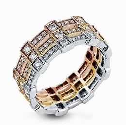 Simon G 18kt White, Rose & Yellow Gold Trio Band Set image 1