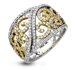 Simon G 18kt White & Yellow Gold Vintage-Inspired Ring image 2