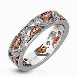 Simon G 18kt Rose & White Gold Modern Paisley Design Ring image 2