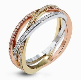Simon G 18kt White, Rose & Yellow Gold Intertwined Band Rings image 2