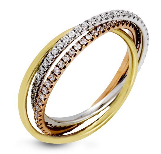 Simon G 18kt Rose, White & Yellow Tri-Color Gold Ring image 2