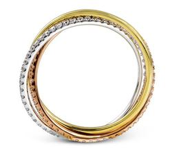 Simon G 18kt Rose, White & Yellow Tri-Color Gold Ring image 3