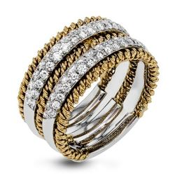 Simon G 18kt White & Yellow Gold Twisted Accent Ring image 2