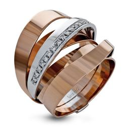 Simon G 18kt Rose & White Gold Bold Modern Band image 1