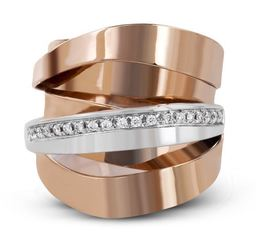 Simon G 18kt Rose & White Gold Bold Modern Band image 2