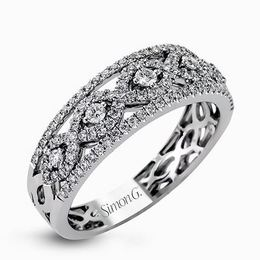 Simon G 18kt White Gold Geometric Pattern Diamond Ring image 2