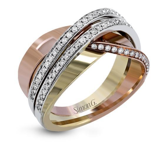 Simon G 18kt White, Yellow & Rose Gold Contemporary Intertwined Band image 2